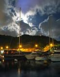moon lit night over the Typhoon Shelter