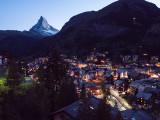 Matterhorn and Zermatt at twilight