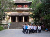 Students in front of Hung KingTemple at Saigon Botanical Gardens
