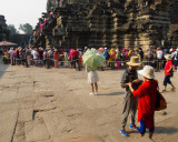 People Waiting in Line to Climb to the top of Angkor Wat Temple