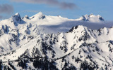 Mount Olympus (back right; 7,980 ft) and Blue Glacier along Hurricane Ridge in Olympic National Park