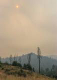 2018 Ferguson Fire smoke shrouds the sun in Yosemite National Park