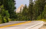 A granite peak viewed over the Tioga Road in Yosemite National Park