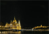 Night Sky over Parliament & Palace, Budapest, Hungary