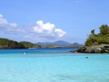 One of the most popular and beautiful beaches on St. John. They have an underwater snorkel trail, where I went snorkeling for the first time. St. Thomas is in the background.
