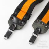 05 Vintage Kaiser Wide Camera Strap Orange and Black Strip with Locking Strap Lugs.jpg