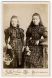 01 2 Young Girls Sisters (-) with Matching Dresses Victorian Edwardian Cabinet Card.jpg