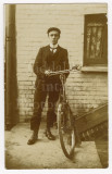 03 2 RPPC Photo Postcards Edwardian Man with his Bicycle - 1 Postmarked.jpg