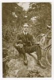 02 2 RPPC Photo Postcards Edwardian Man with his Bicycle - 1 Postmarked.jpg