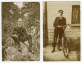 01 2 RPPC Photo Postcards Edwardian Man with his Bicycle - 1 Postmarked.jpg