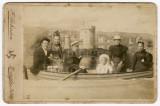 01 People in Rowing Row Boat Studio Victorian Edwardian Cabinet Card Douglas IOM.jpg