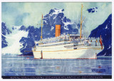 Steamer Atlantis at Spitzbergen Colour Postcard Royal Mail Lines + 1936 Advert 001.jpg