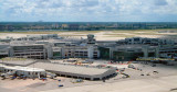 2007 - aerial stock photo of old Concourse C, temporary Concourse C bag sheds, and D-Tower at Miami International Airport