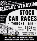 1950's - advertisement for Medley Stadium (later Palmetto Speedway) stock car racing