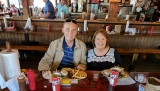 May 2017 - Don and Karen Boyd about to dine on pulled pork meals at the original Shorty's BBQ on South Dixie
