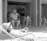 1960's - Irene Anthonsen, Bill Sweeney Jr., Bill Sweeney and John Boyd at the Crandon Park cabanas