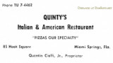 1956 - advertisement in the Hialeah High Record for Quinty's Italian & American Restaurant in Miami Springs