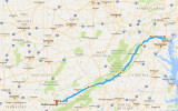 537-mile drive from Royal Farms gas station in Owings Mills, MD, to Waffle House parking lot in Alcoa, TN. Map courtesy Google.