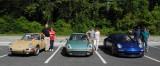 (2nd) 1968 911L in Sand Beige, (3rd) 1977 911 Turbo in Ice Green, (1st) 2010 911 GT3 in Aqua Blue. View original size. (3658)