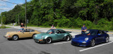 (2nd) 1968 911L in Sand Beige, (3rd) 1977 911 Turbo in Ice Green, (1st) 2010 911 GT3 in Aqua Blue. View original size. (3662)