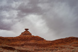 Mexican Hat Rock in the rain.
