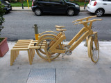 Wooden bikes for rent at our hotel in Athens