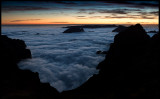 Low clouds after sunset seen from pico de Arrears (1810 m) - Madeira