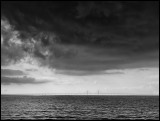 Öresund Bridge Malmö with intense thunderclouds