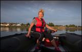 Susanne driving my boat at Grönhögen harbor