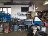 Workshop with lathe