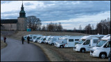 Many visitors gather with campers near Bjurum church