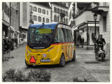 Self driven bus in town Sion
