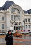 Françoise in front of Trouville Casino.