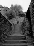 Climbing towards the abbey.