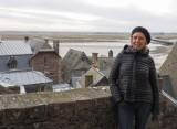 Françoise on the paths of the Mont Saint Michel.