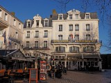 Saint-Malo; a famous restaurant and plaza.