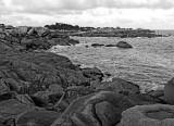In a path starting at Saint-Guirec Beach, towards Ploumanach.