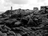 In a path starting at Saint-Guirec Beach; Ploumanach lighthouse.