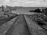 In the path starting at Saint-Guirec Beach, towards Ploumanach.