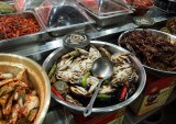 Daejeon: typical Korean food (normally very spicy) in one of the galleries of downtown.