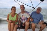 Conny, Thomas and A.R. Leão in the boat to Anhatomirim fortress.