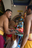 Hindu priests at Sri Mariammam Temple prepare for a ceremony