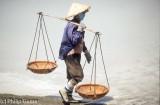 Harvesting sea salt at Cam Ranh Bay