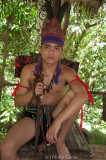 Man dressed in Lundayeh tribal costume
