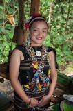 Woman wearing Rungus tribal costume