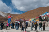 On the road again, heading east out of Lhasa: a rest halt at the 5000-metre Mila Pass