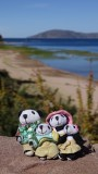 The Pandafords on the shore of Lake Titicaca
