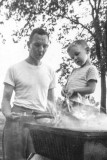 1954-roasting weenies, first step to a barbque addiction.