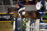 Kent Farrington USA riding Voyeur to victory in the Longines FEI World Cup Show Jumping competition at the Royal Horse Show Toro