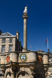 Mercat Cross with Royal Unicorn in Old Town of Edinburgh in Parliament Square on Royal Mile Scotland United Kingdom